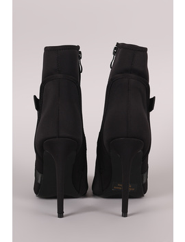 Crisscross Buckled Strap Pointy Toe Stiletto Booties by Urbanog