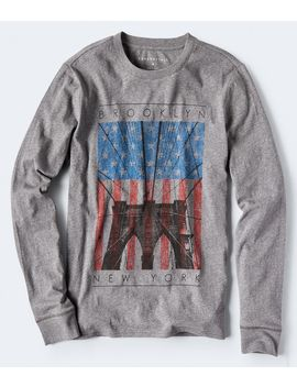 Long Sleeve Brooklyn Bridge Flag Graphic Tee by Aeropostale