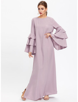 Exaggerate Layered Bell Sleeve Slit Hijab Evening Dress by Shein
