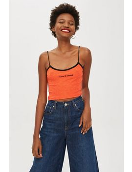 Petite 'unreal' Embroidered Cami Top by Topshop