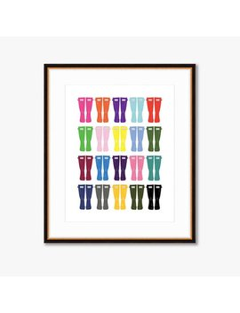 "Rainbow Wellies    Home Decor    Illustrated Fashion Print    8 X 10"" by Historyin High Heels"