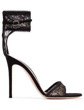 Black 105 Lace Ankle Strap Sandals by Gianvito Rossi
