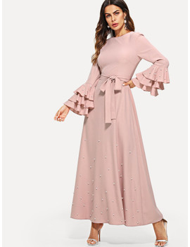Pearl Embellished Layered Flounce Sleeve Belted Dress by Shein