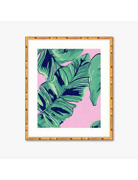 Pink Palms    Watercolor Print    Home Decor by Historyin High Heels