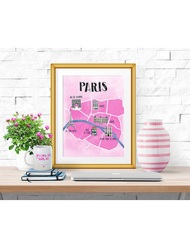 Paris    Illustrated Map    Home Decor    Print by Historyin High Heels