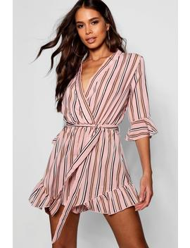 Tall Stripe Wrap Playsuit by Boohoo
