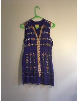 Anthropologie Maeve Women's Tunic Dress Sz 4 Boho Embroidered Beads Purple Lined by Maeve