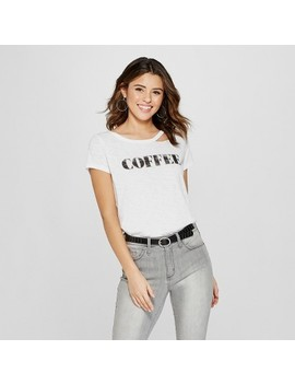 Women's Short Sleeve Coffee Clavicle Cut Out Graphic T Shirt   Grayson Threads (Juniors') White by Shop All Grayson Threads