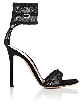 Halle Lace & Suede Sandals by Gianvito Rossi