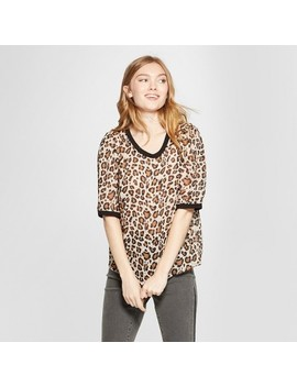 Women's Leopard Print Short Sleeve Woven T Shirt   A New Day™ Beige by Shop All A New Day™