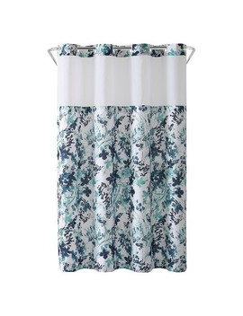Hookless Palm Leaves Shower Curtain With Liner Moss by Shop All Hookless