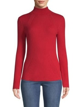 Ribbed Wool Turtleneck Sweater by St. John