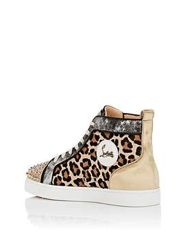 Lou Spikes Flat Mixed Material Sneakers by Christian Louboutin