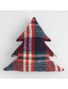 Plaid Holiday Tree Shaped Throw Pillow by World Market