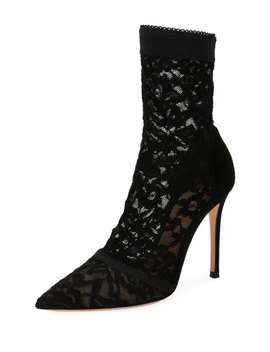 Stretch Lace 105mm Booties by Gianvito Rossi