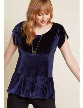 Tea House Outing Peplum Top In Navy Velvet by Modcloth