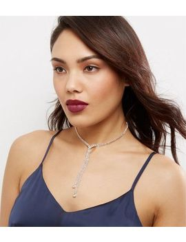 Crystal Cross Front Diamanté Necklace by New Look