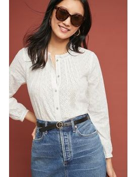 Pleated Eyelet Buttondown by Eri + Ali