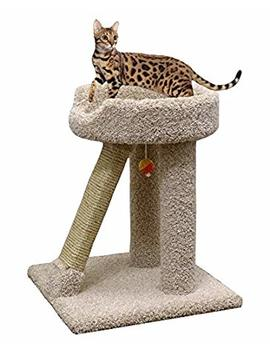 Carpet Cat Scratching Pole In Beige 24 Inch Wood Cat Scratcher Sisal Post by Cozy Cat Furniture