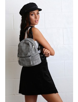 Barrett Black Plaid Mini Backpack by Lulu's