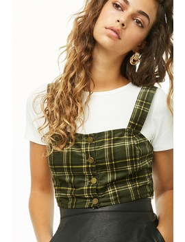 Plaid Corduroy Button Front Crop Top by Forever 21