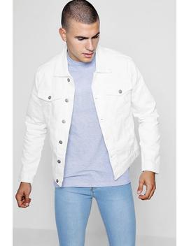 White Distressed Denim Jacket by Boohoo