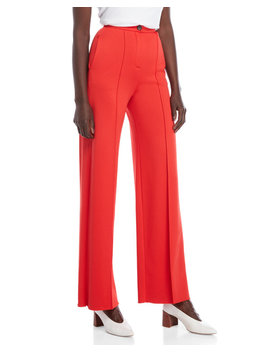 Red Pintuck High Waisted Pants by Alysi