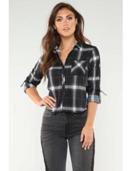 Lounge Lover Collared Plaid Top   Black/Red by Fashion Nova