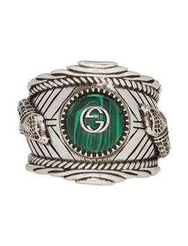 Silver Garden Logo Ring by Gucci