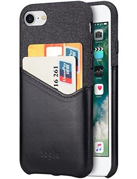 Lopie I Phone 7 Hülle Mit Kartenfach, I Phone 8 Hülle Leder, [Sea Island Cotton Series] Stoff Echtleder Wallet Schlankem Card Holder Handy Schutzhülle Für Apple I Phone 8/7 Case Cover  Schwarz by Amazon