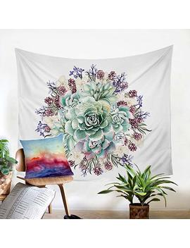 "Sleepwish Succulent Tapestry Vintage Floral Tapestry Winter Botanical Prints Wall Art Mandala Tapestry Wall Hanging Throw (50""×60"") by Amazon"