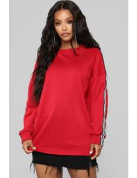 Own The Game Sweatshirt   Red by Fashion Nova