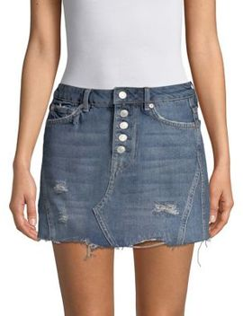 Distressed Denim A Line Skirt by Free People
