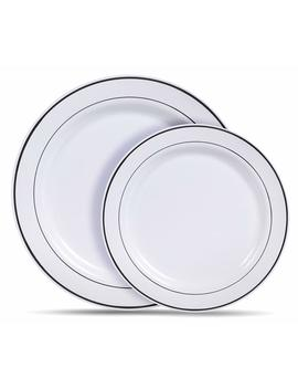Select Settings [60 Count] White With Silver Rim Plastic Disposable Plates: 30 Dinner Plates And 30 Salad Plates by Select Settings