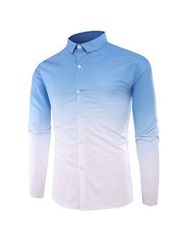 Zimaes Men Ombre Spring Long Sleeve Plus Size Button Down Dress Shirt by Zimaes Men