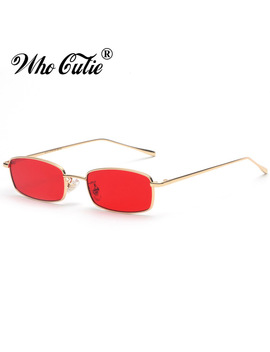 Who Cutie 2018 Small Narrow Rectangle Sunglasses Women Men Brand Red Clear Lens Skinny Slim Wire Retro Sun Glasses Shades Om522 by Who Cutie