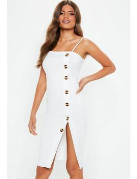 White Strappy Button Front Midi Dress by Missguided