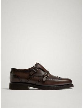 Pantofi Monk Din Piele Maro by Massimo Dutti