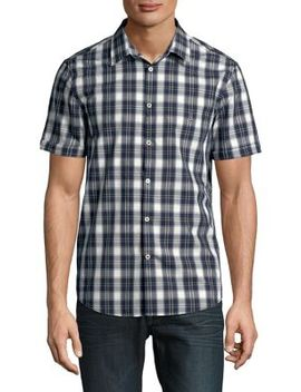 Plaid Short Sleeve Cotton Button Down Shirt by John Varvatos Star U.S.A.