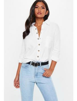 White Jersey Horn Button Shirt by Missguided