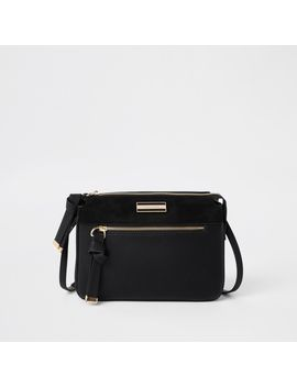 Black Triple Compartment Crossbody Bag by River Island