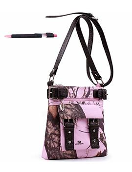 Mossy Oak Camo Cross Body Messenger Bag Purse Pink Black Pen by Amazon