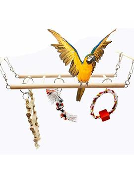 Bird Toys Set Wood Climbing Ladder Bridge Swing 4 Pieces For Parrot Budgie Parakeet Cockatiel Conure Lovebird Finch Canary Cockatoo African Grey Macaw Eclectus Amazon Cage Stand Perch by Amazon