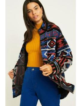 Uo Patterned Fleece Longline Shirt by Urban Outfitters