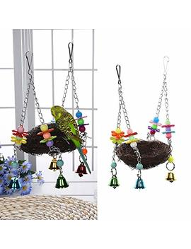 Natural Rattan Nest Bird Swing Toy With Bells For Parrot Budgies Parakeet Cockatiels Conure Lovebird Finch Cockatoo Macaw African Greys Cage Perch Stand (S) by Amazon