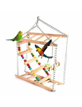 Pet Hanging Ladder Wooden Suspension Bridge Steps Stairs Climbing Swing Double Layer Toys For Bird Parakeet Hamster Budgie Cockatiel Parrot Hammock Cage Toy by Amazon