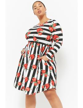 Plus Size Striped Skater Dress by Forever 21