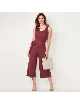 Women's Lc Lauren Conrad Weekend Wide Leg Capri Jumpsuit by Kohl's