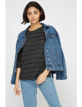 Striped Soft Knit Side Slit Long Sleeve by Urban Planet