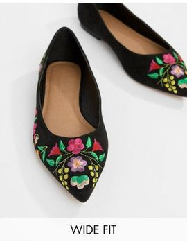 Asos Design Lantana Wide Fit Embroidered Pointed Ballet Flats by Asos Design